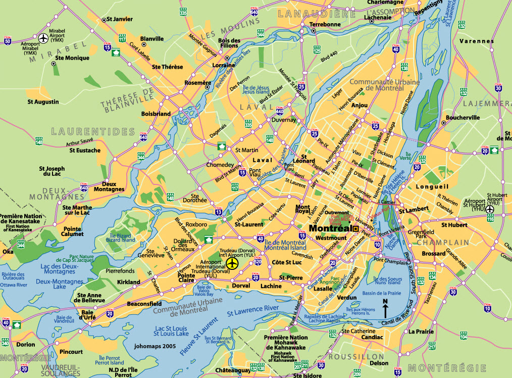 Montreal Map and South Shore